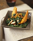 Water cress salad with pumpkin and fried chicken