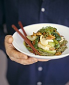Noodles with bok choy and fish