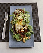 Lambs lettuce salad with pears and red wine onions