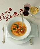Tomato consommè with crayfish tails