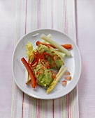 Raw vegetables with an avocado dip