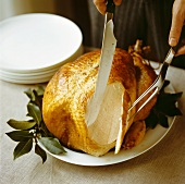 Carving a whole roast turkey