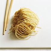 Egg noodles with chopsticks