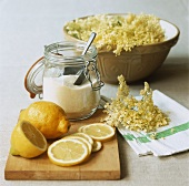 Ingredients for making elderflower liqueur