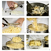 Making cheese spaetzle (noodles) with fried onion