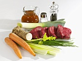 Ingredients for boiled beef fillet with vegetables