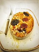 Arroz al horno (oven baked rice, Spain) with chorizo and morcilla