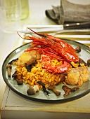 Rice with carabineros (king prawns), monk fish and mushrooms (Spain)