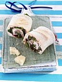 Wraps with raw ham and cheese