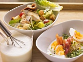 Caesar salad, egg salad and French dressing