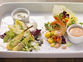Prawn salad with Thousland Island Dressing and pear salad with blue cheese dressing
