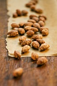 Roasted almonds on baking paper