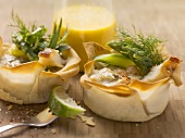 Trout in puff pastry bowls