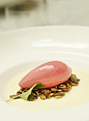 Panna cotta with white chocolate and raspberry sorbet