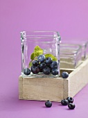 Blueberries in glass dish