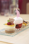 Various desserts: tri-layered mousse, berry soup and creme brulee
