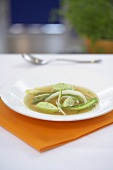 Asparagus soup with ramson quark gnoccis