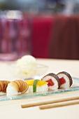 Sweet sushi with wasabi ice cream