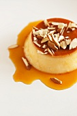 Custard cream with almonds and caramel sauce