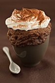 Chocolate cake with cream, baked in a cup