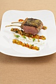 Lamb chop with relish and peperonata