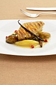 Goose liver in yufka dough with a quince and chestnut ragout