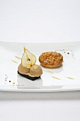 Pear tart tatin with liquorice ice cream and liquorice jelly