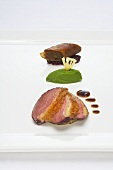 Duck breast on pineapple with bean puree and croustillant