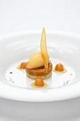 Pumpkin sorbet on sablé (French shortbread)