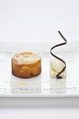Peach clafoutis with rosemary panna cotta and yogurt ice cream