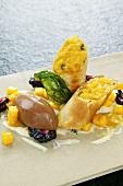 Mango strudel with lemongrass sauce and chocolate ice cream