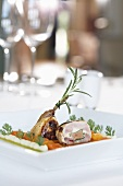 Quail compote in a medlar-pumpkin broth