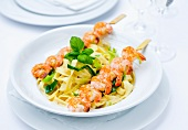 Tagliatelle with king prawns and coconut and chilli sauce