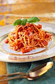 Pasta all'amatriciana (pasta with pork cheeks and chilli)