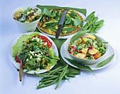 Vegetable salad, rice salad, tortilla with mangetout, penne