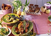 Italian Easter meal: leg of lamb, leeks, ravioli
