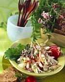 Kohlrabi and apple salad