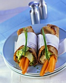 Pancake rolls filled with carrots and chive cream