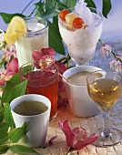 Green tea, plum wine, kombucha, chai, lassi, pina colada