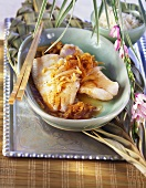 Braised redfish fillets in Asian caramel sauce