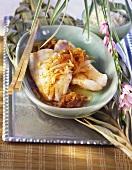 Braised redfish fillets in Asian caramel sauce