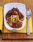 Beef goulash with apple tagliatelle