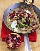 Veal blanquette with pomegranate seeds and goat's cheese