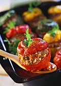 Peppers with mince stuffing in tomato sauce