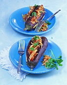 Stuffed aubergines with vegetarian stuffing