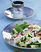 Courgette salad with walnut sauce