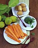 Zitronenmöhren mit Petersilienpesto und Pellkartoffeln