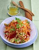 Raw carrot salad with walnuts