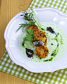 Spring herb soup with morel potato cakes