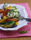 Roasted summer vegetables with cheese balls & honey dressing